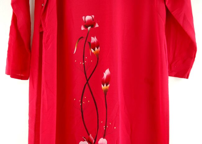 Close of Red Floral Vietnamese Dress