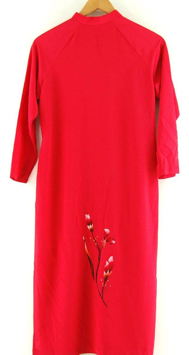 Back of Red Floral Vietnamese Dress