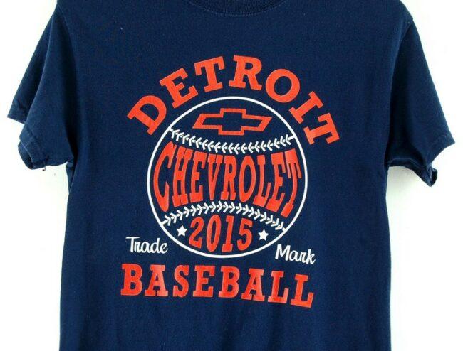 Close up Navy Detroit baseball Retro Graphic Tee
