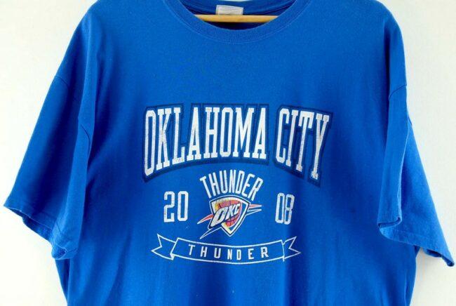 Close up of Blue NBA Oklahoma City Thunder Tee