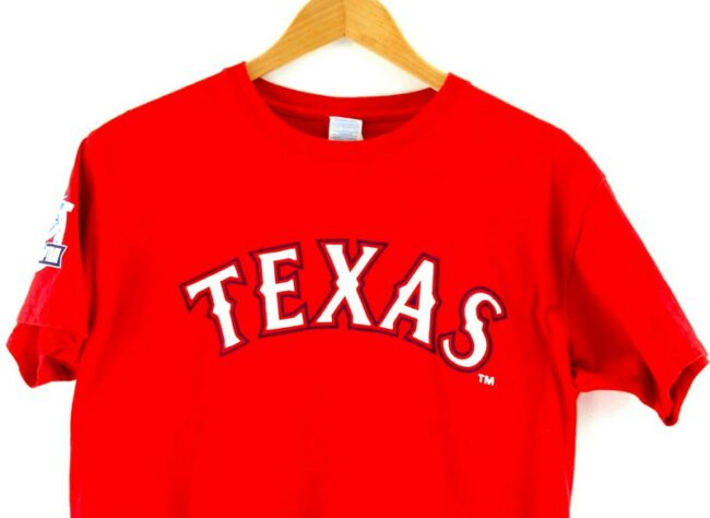 Close up of Red Texas Rangers Captain Tee