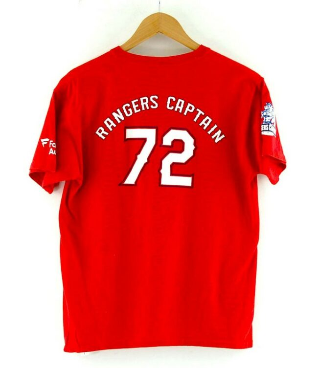 Back of Red Texas Rangers Captain Tee