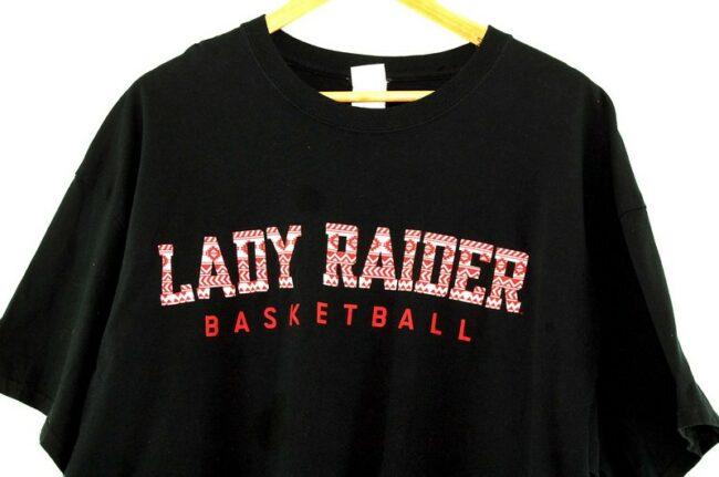 Close up Black Lady Raiders Basketball Tee