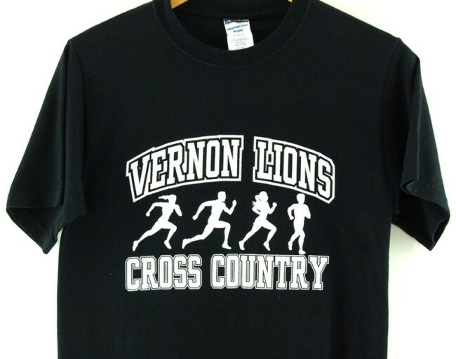 Close up of Black Vernon Lions Cross Country American T Shirt