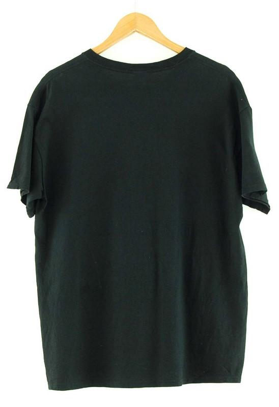 Back of Close up of Tackle Breast Cancer Gildan Black T Shirt