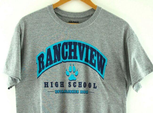 Close up of Grey Ranchview High School Tee