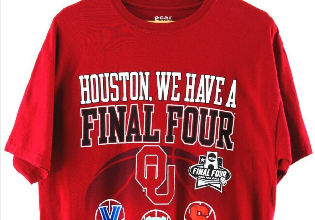 Close up of Red Houston Final Four Tee