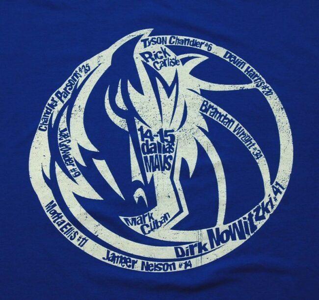 Close up of 2014 Dallas Mavs Vintage Graphic T Shirt