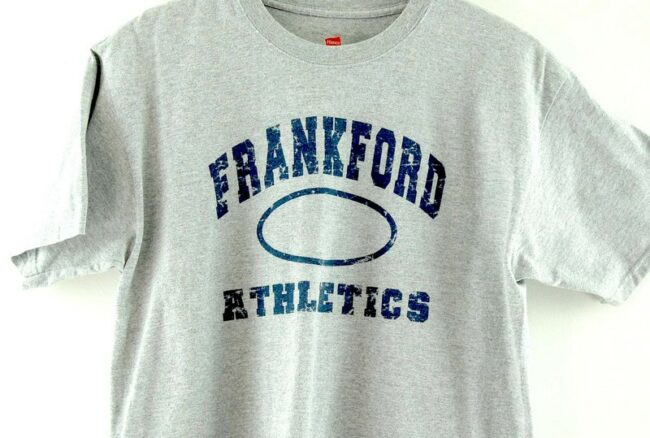 Close up of Grey Frankford Athletics American Sports Tee