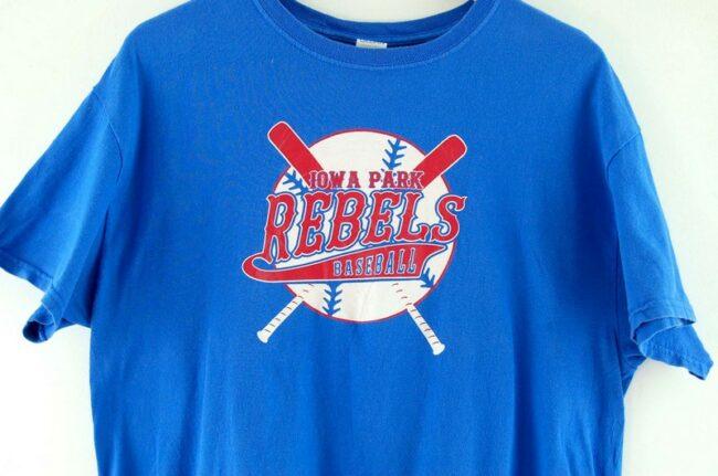 Close up of Iowa Park Rebels Baseball T Shirt Vintage
