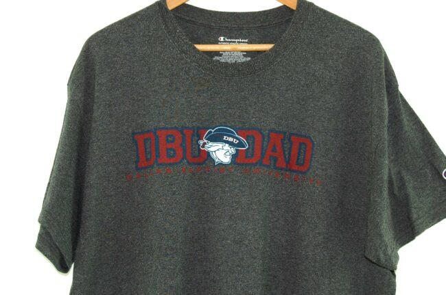 Close up of DBU Dad Dallas Baptist University Vintage Champion T Shirt