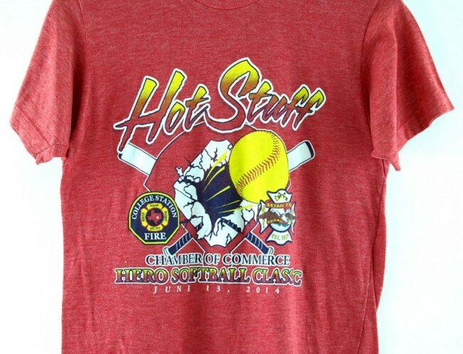 Close of Hot Stuff Hero Softball Classic T Shirt