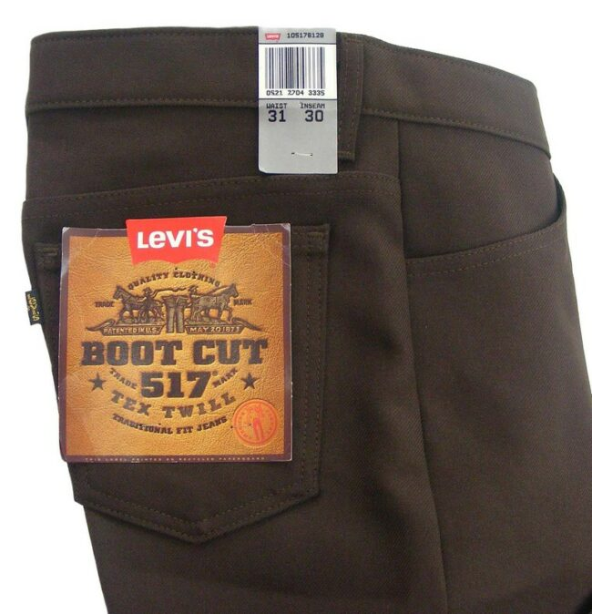 Close up of Brown 70s Levis 517 Bootcut Trousers