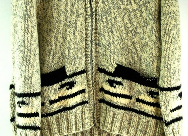 Close up lower front of 70s Curling Cowichan Sweater