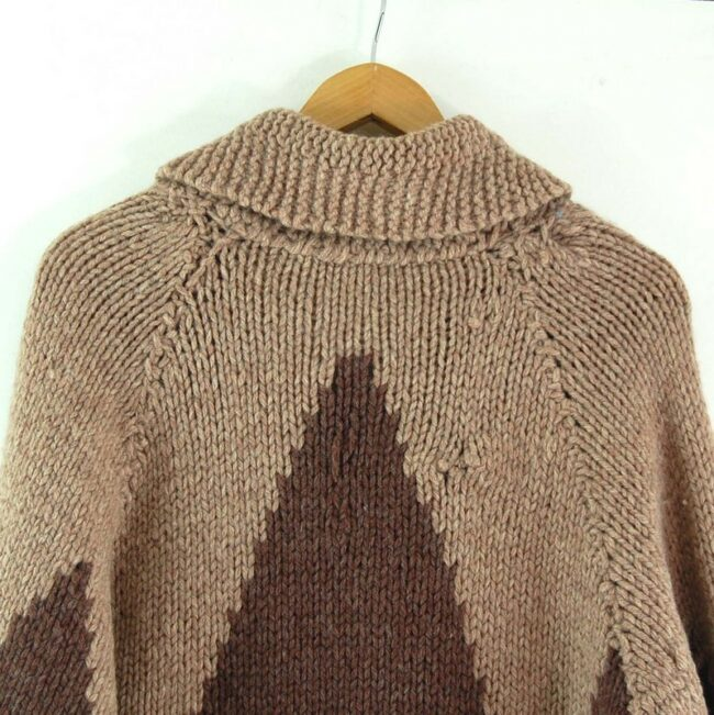 Close up back of 70s Mens Cowichan Sweater