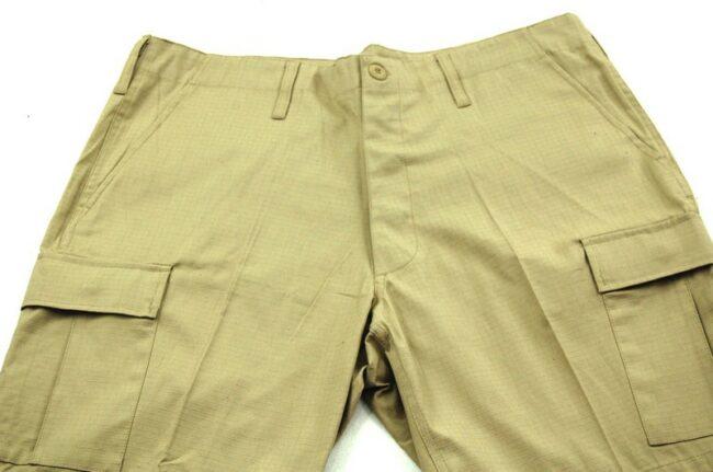 Close up of Dead Stock Mens Khaki Cargo Shorts