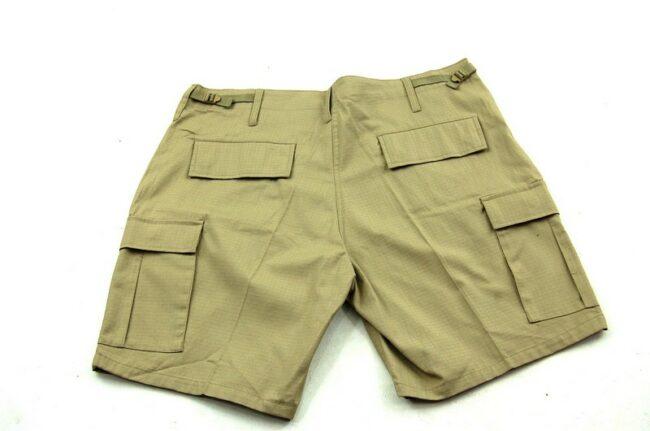 Back of Dead Stock Mens Khaki Cargo Shorts
