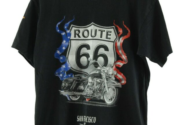Close up of Route 66 Mens Black Tee