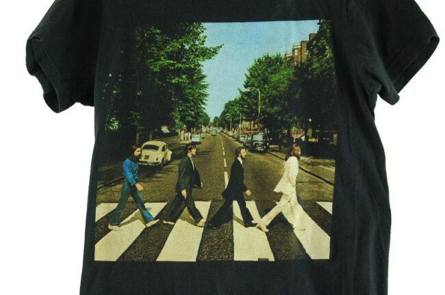 Close up of Beatles Abbey Road Mens Black Tee
