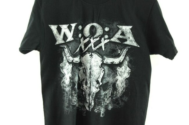 Front close up of WOA Fruit of the Loom Mens Black Tee