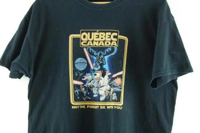 Close up of Quebec Canada Mens Black Tee