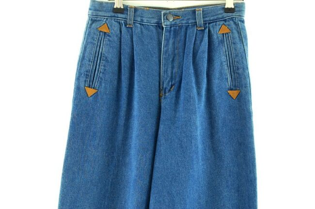 Front of Blue Denim High Waisted Jeans
