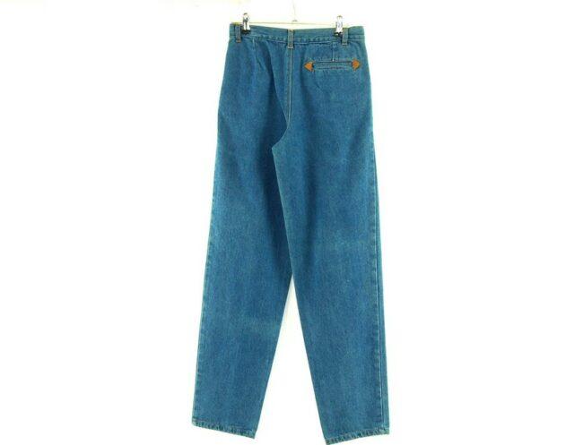 Back of Blue Denim High Waisted Jeans