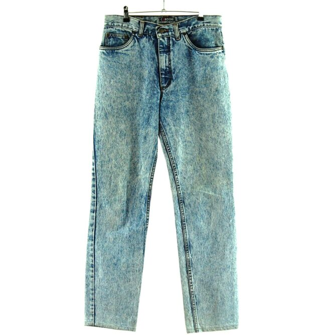 High Waisted Grey Marble Wash Jeans