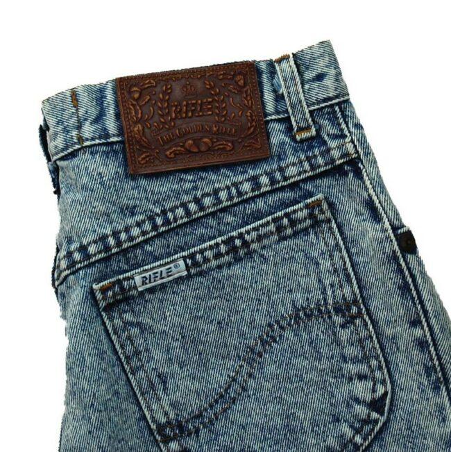 Back of Rifle Acid Wash Denim Jeans