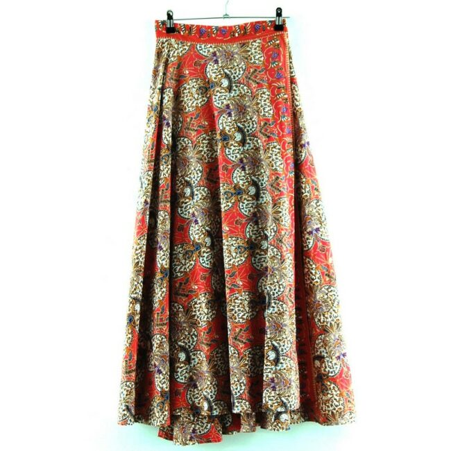 Back of Cotton Wrap Maxi Skirt