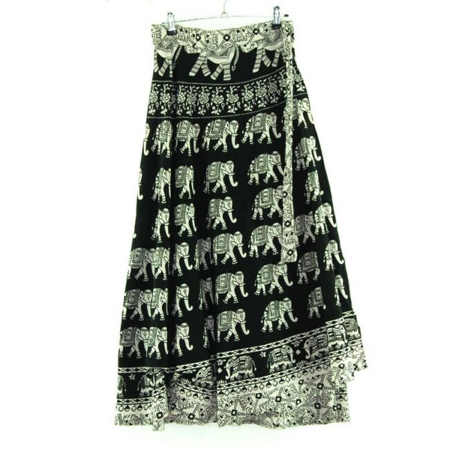 Elephants Wrap Tie Maxi Skirt