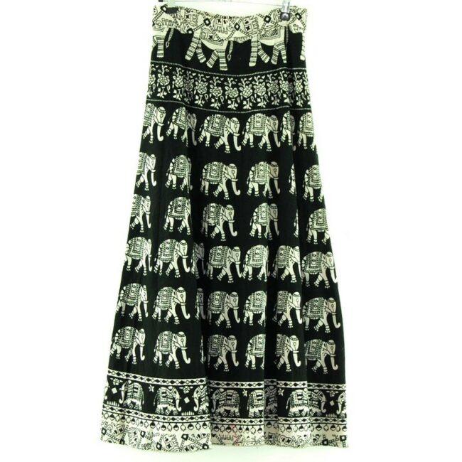 Back of Elephants Wrap Tie Maxi Skirt