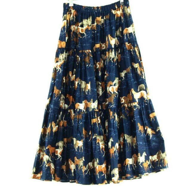 Horse Print Vintage Tiered Skirt