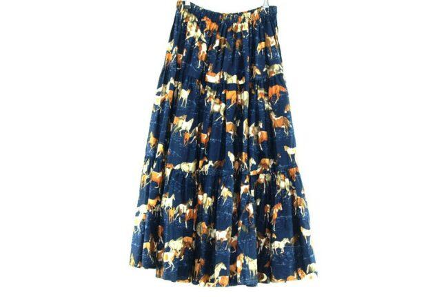 Back of Horse Print Vintage Tiered Skirt