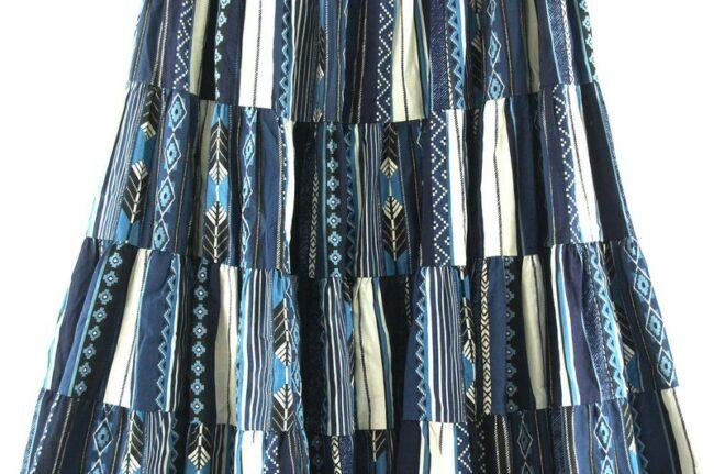 Close of Folk Print Gypsy Skirt