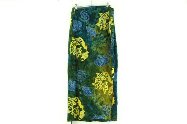 Back of Seashells Batik Wrap Skirt