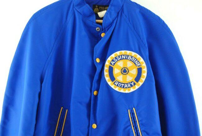 Close up of Assiniboine Rotary Club Nylon Bomber Jacket