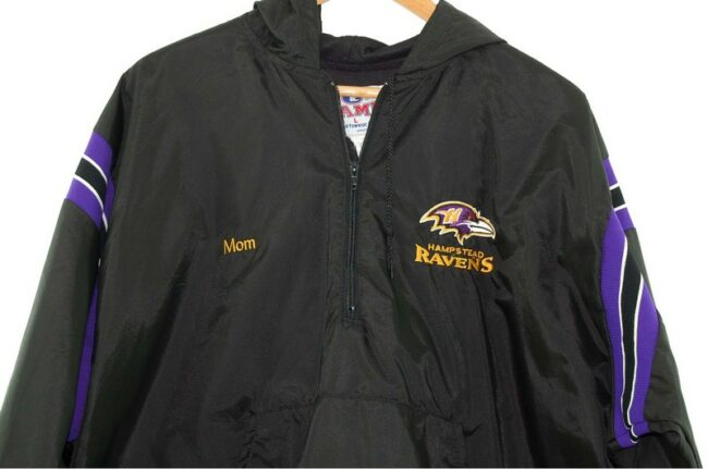 Close up of Hampstead Ravens American Bomber Jacket