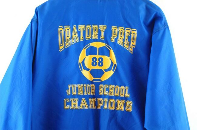 Close up of Oratory Prep Junior School Champions American Bomber Jacket