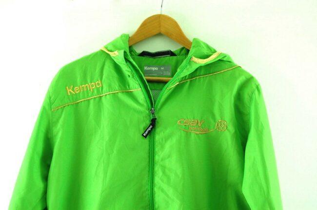 Close up of Lime Green Kempa Handball Jacket