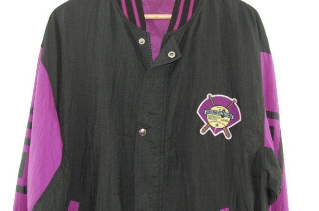 Close up of Black Nylon Baseball Jacket