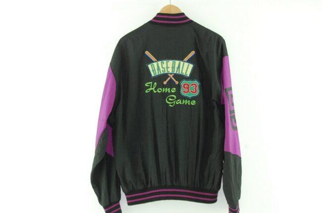 Back of Black Nylon Baseball Jacket