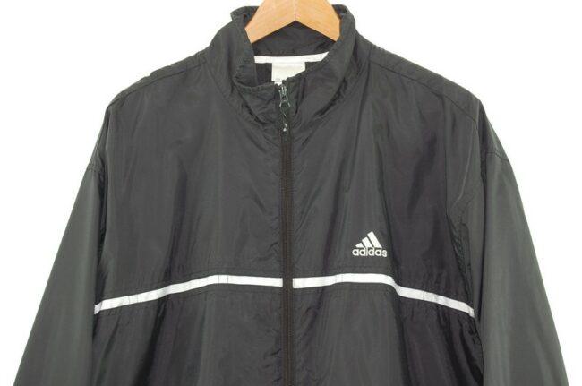 Close up of Black Adidas Windbreaker Jacket