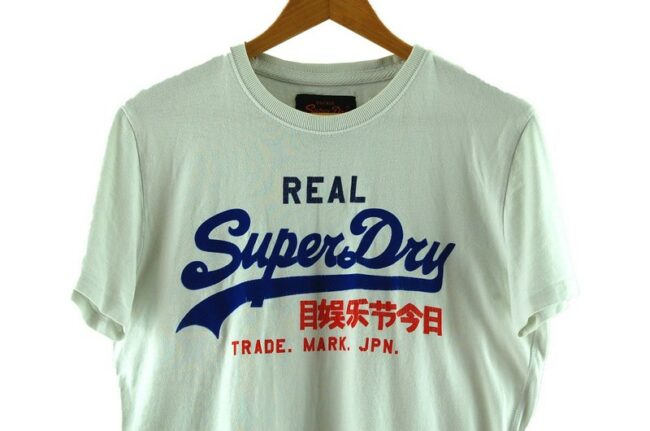 Close up of Superdry White T Shirt