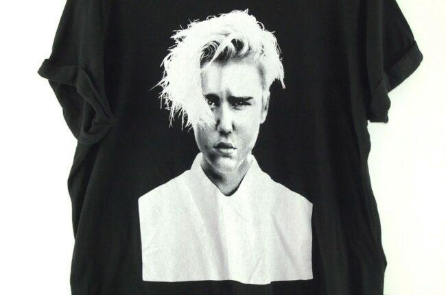Close up of Justin Bieber Purpose Tour Black Tee