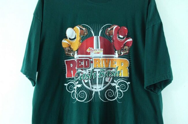 Close up of Red River Cash Bash Green Tee