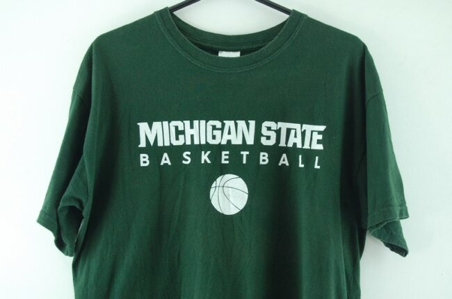 Close up of Michigan State Green Tee