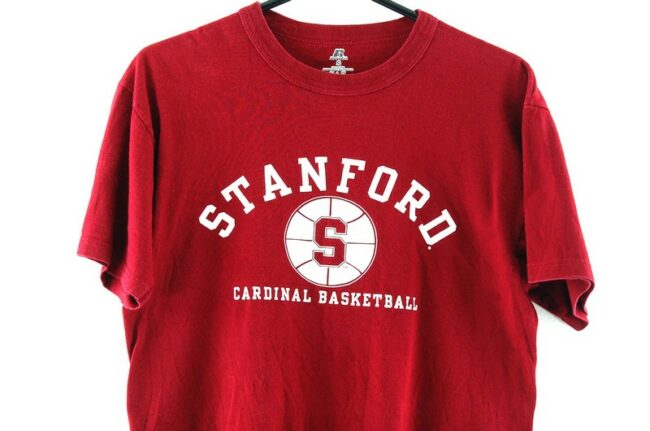 Close up of Stanford Basketball Burgundy Tee