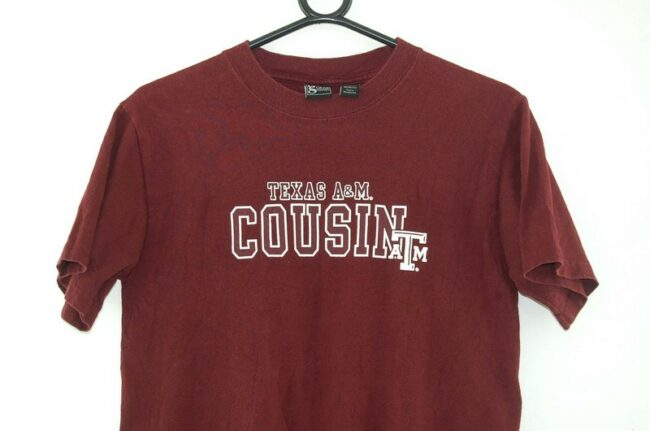 Close up of Texas A & M Cousin Oxblood Tee