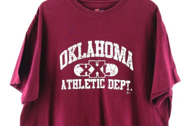 Close up of Oklahoma XXL Athletic Dept. Oxblood Tee
